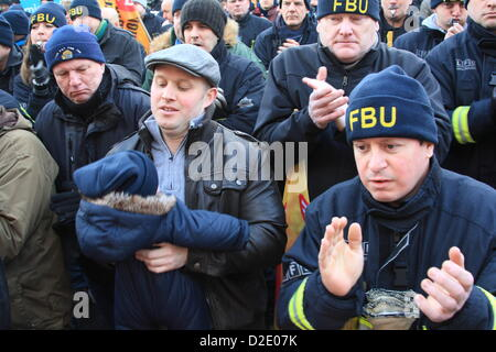 London, UK. 21st Jan, 2013. Firefighters protest outside London Fire Brigade Head Quarters as Fire Authority members - Stock Photo