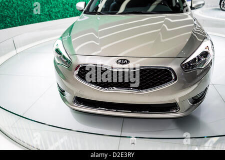 Jan. 17, 2013 (Detroit, Michigan, U.S.) North American International Auto Show: 2014 Kia Cadenza front view on display. - Stock Photo