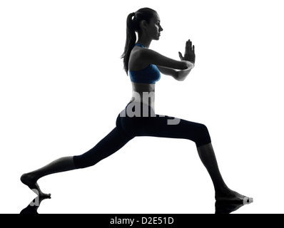 One Woman Exercising Yoga Warrior Position In Silhouette Studio Isolated On White Background