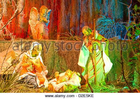Jesus' birth display in a catholic church in Santa Clara, Cuba - Stock Photo