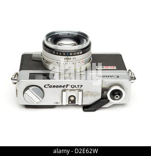 Top view of the Canon Canonet G-III QL rangefinder film camera isolated on white background - Stock Photo