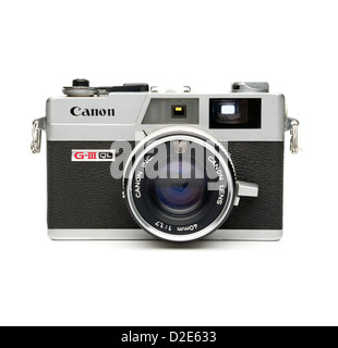Canon Canonet G-III QL rangefinder film camera isolated on white background - Stock Photo