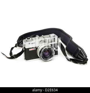 Canon Canonet G-III QL rangefinder film camera with strap isolated on white background - Stock Photo