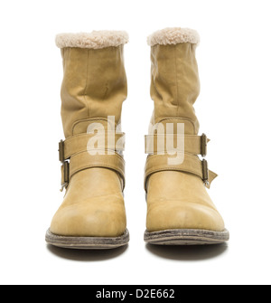 One pair of tall Winter boots isolated on white background - Stock Photo