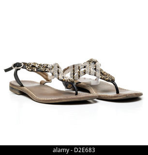 Pair of sandals isolated on white background - Stock Photo
