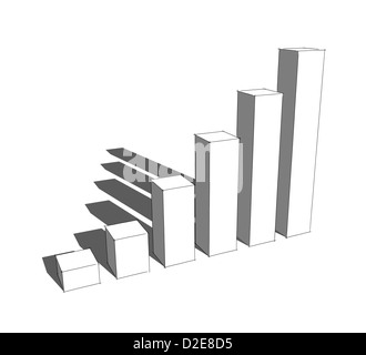 sketch of 3d bar graph - Stock Photo