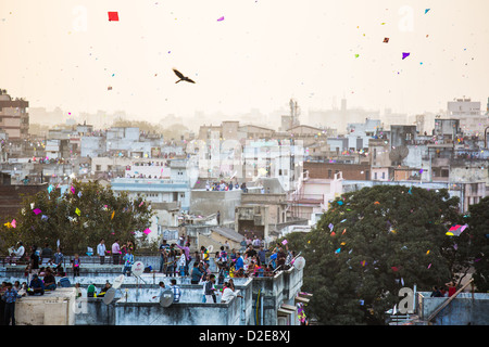 Kite Festival or Uttarayan in Ahmedabad, Gujarat, India - Stock Photo
