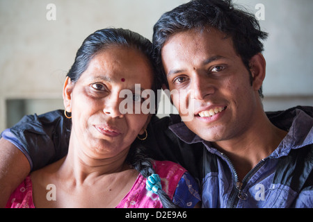 Mother and son, Ahmedabad, Gujarat, India - Stock Photo