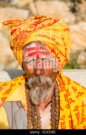 Sadhu or Hindu holy man in Kathmandu, Nepal. Sadhus are men who have renounced all material attachments - Stock Photo