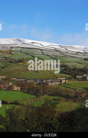 Snow on the hilltop above Gunnerside in the Yorkshire Dales - Stock Photo