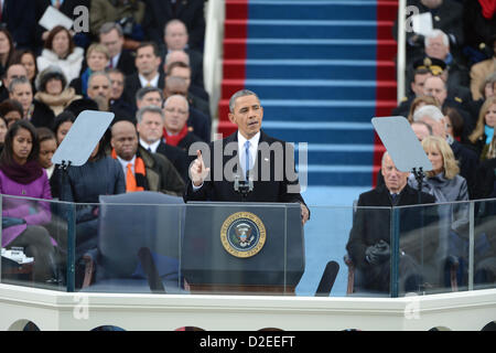President Barack Obama delivers his inaugural address after being sworn-in for a second term as the President of - Stock Photo