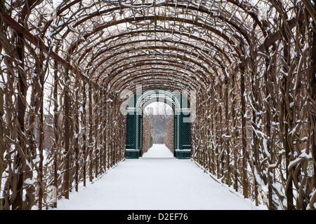 Vienna -  gardens of Schonbrunn palace in winter - Stock Photo