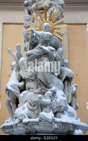 Vienna - Detail of angel from baroque Trinity column by holy Urlich and Maria Trost church in winter. - Stock Photo