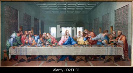 VIENNA - JANUARY 15: Mosaic of Last supper of Jesus by Giacomo Raffaelli from year 1816 as copy of Leonardo da Vinci - Stock Photo