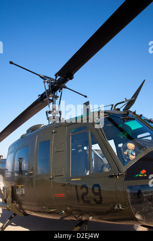 A Vietnam Era UH1 Huey Helicopter Flies During A Vietnam Veterans Stock Phot