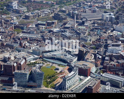 Birmingham city centre from the air, West Midlands, UK - Stock Photo