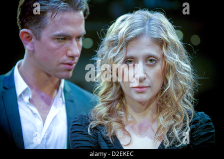 English actor Richard Fleeshman with canadian actress Caissie Levy performing Ghost the musical in Manchester - Stock Photo