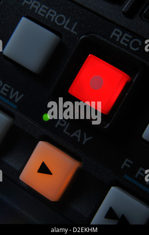 Macro shot of the orange color 'Play' and red 'Record' buttons. Also visible Preroll button. - Stock Photo