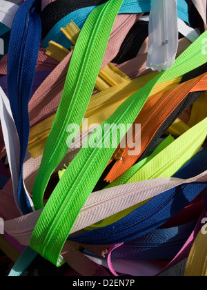 colored zippers - Stock Photo