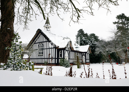 Seen here covered in snow is All Saints Church in the Shropshire village of Little Stretton,Shropshire. - Stock Photo