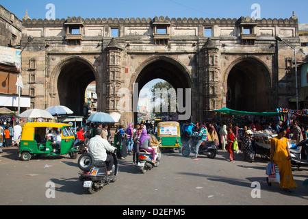 Teen Gate, city walls, Ahmedabad, Gujarat, India - Stock Photo