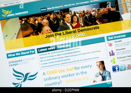 Liberal Democrats logo and website. - Stock Photo