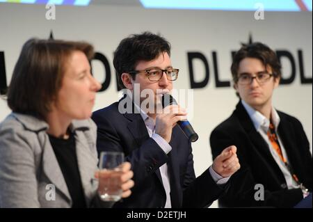 MUNICH/GERMANY - JANUARY 22: Eric Kuhn (United Talent Agency, m.) speaks on the podium during the Digital Life Design - Stock Photo