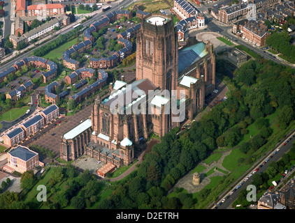 aerial view of the Anglican Cathedral in Liverpool - Stock Photo