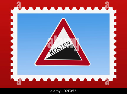 Detail photo of a stamp. The stamp shows a danger sign 'Upward gradient' with the German inscription costs - Stock Photo