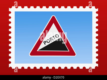 Detail photo of a stamp. The stamp shows a danger sign 'Upward gradient' with the German inscription postal rate - Stock Photo