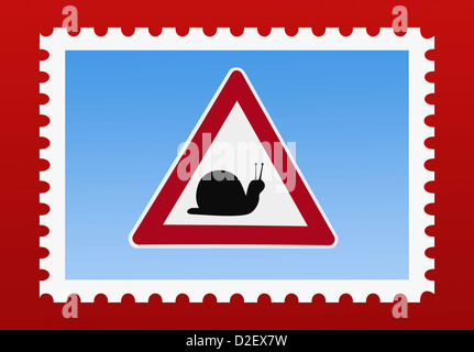 Detail photo of a stamp. The stamp shows a danger sign with a snail in the middle - Stock Photo