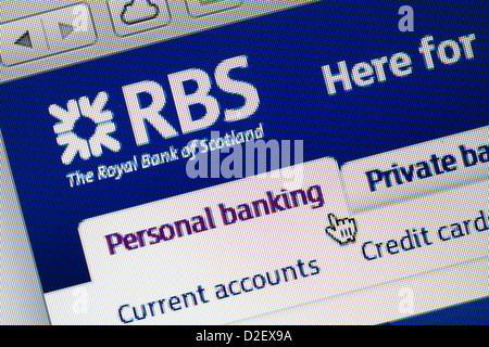 Royal Bank of Scotland, RBS logo and website close up - Stock Photo