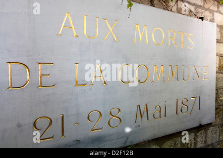 Mur des Federes in the Pere Lachaise cemetery (commemorating the victims of the 1871 Paris Commune) Paris. France. - Stock Photo