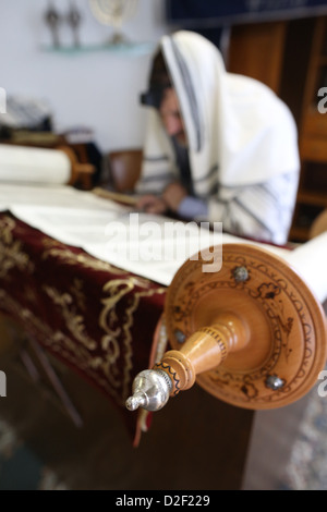 Reading the Torah in a synagogue. Paris. France. - Stock Photo