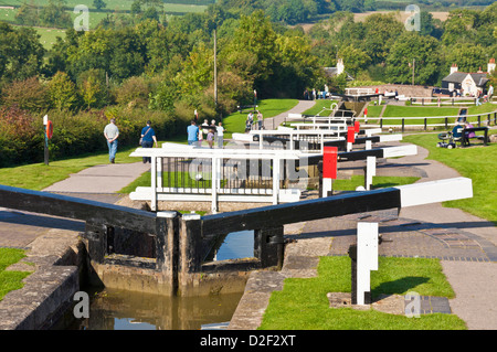 Historic Flight of locks at Foxton locks on the grand union canal Leicestershire England UK GB EU Europe - Stock Photo