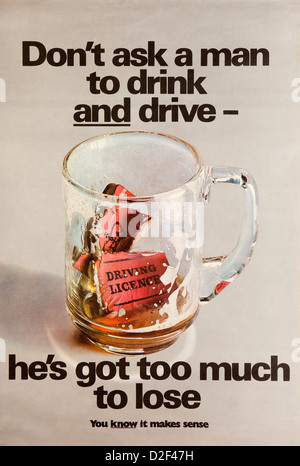 Road Safety, 1960s, ROSPA anti drunk driving poster, dont ask a man to drink and drive - Stock Photo