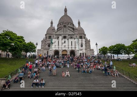 The Basilica of the Sacred Heart of Paris, commonly known as Sacré-Cœur Basilica,Paris,Turkey - Stock Photo