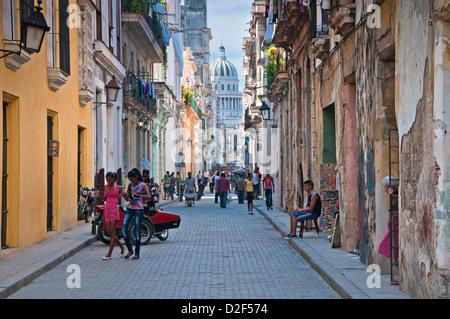 Street Scene in Old Havana on Calle Brazil with Capitolio Building Behind, Habana Vieja, Havana, Cuba - Stock Photo