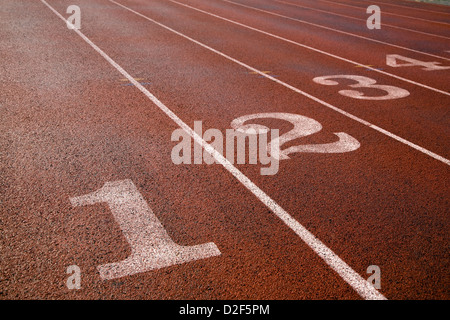 Eight Lane Running Track - Stock Photo