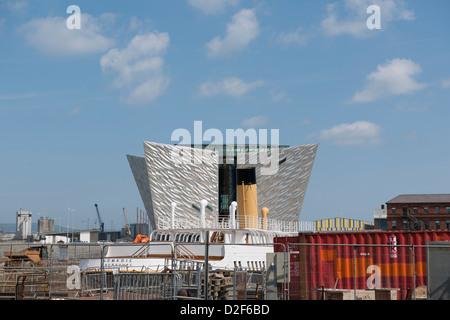 Titanic signature building Queens Island Belfast Northern Ireland - Stock Photo