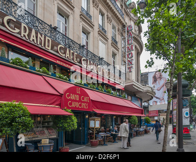 Paris, Cafe, France, High Angle View of WOman Working on Laptop ...