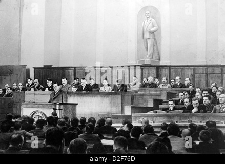 SUPREME SOVIET OF THE USSR 25 February 1941. Arseny Zverev, People's Commissar of Finance, reporting on the State - Stock Photo