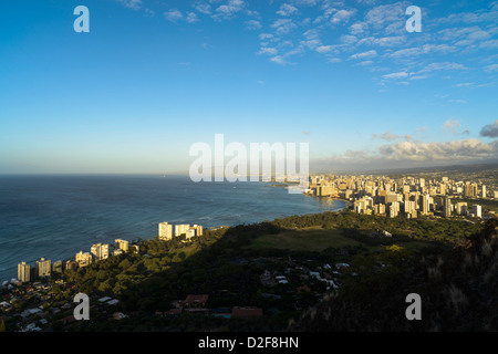 Honolulu viewed from Diamond Head Crater at dawn, Oahu, Hawaii, USA - Stock Photo