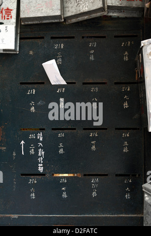 Hong Kong, China, mailboxes in a residential buildings in Sham Shui Po - Stock Photo