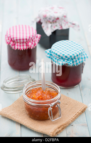 Home made jams, marmalades, jellies and preserves. - Stock Photo