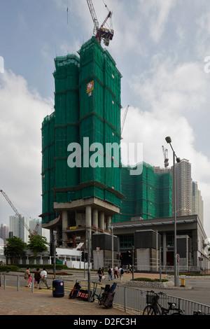 Hong Kong, China, site for further Wohntuerme in Hong Kong Kowloon - Stock Photo