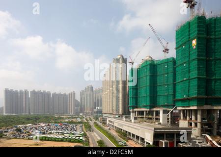 Hong Kong, China, Wohntuerme in a housing development in Hong Kong Kowloon - Stock Photo