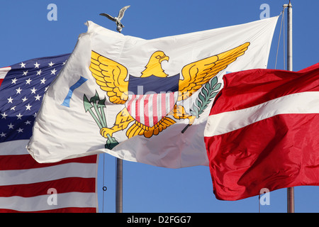 The Stars and Stripes, the U.S. Virgin Islands Flag & the Danish Flag, Charlotte Amalie, St. Thomas, US Virgin Islands - Stock Photo