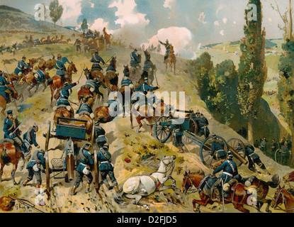 Battle of Spicheren or Battle of Forbach, 6 August 1870, Franco-Prussian War or Franco-German War 1870-1871 - Stock Photo