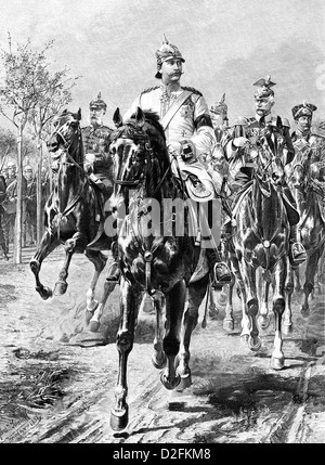 Wilhelm II or William II, and his entourage on horseback, 1859-1941, German Emperor, King of Prussia - Stock Photo
